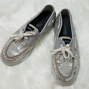 Sperry Boat Shoes w/ Silver Sequins 6.5 top sider